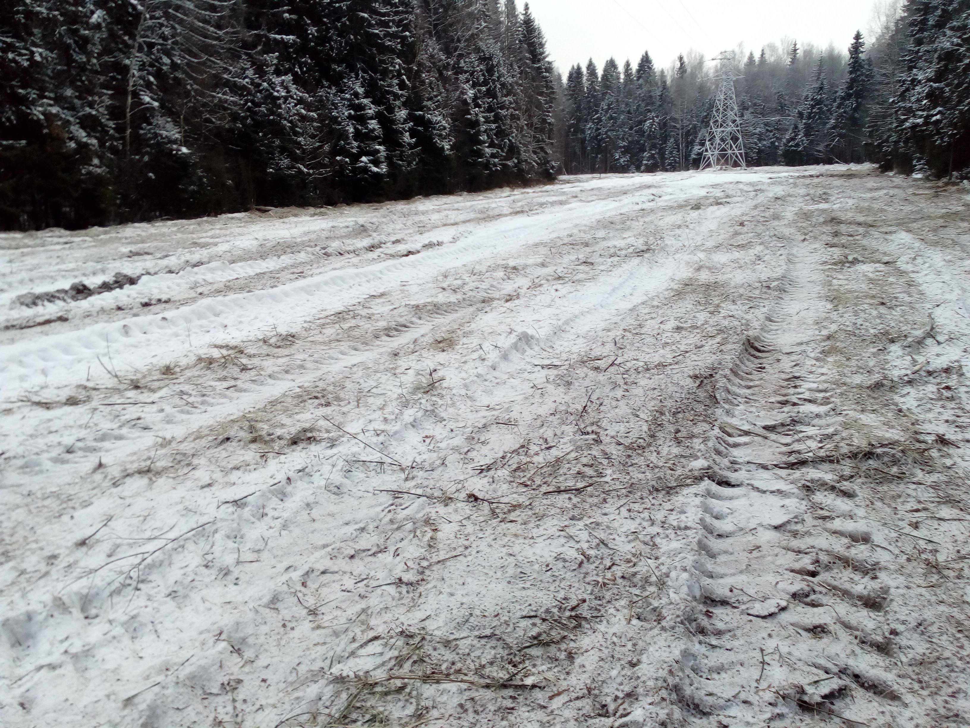 Расчищенный участок ВЛ от дкр зимой